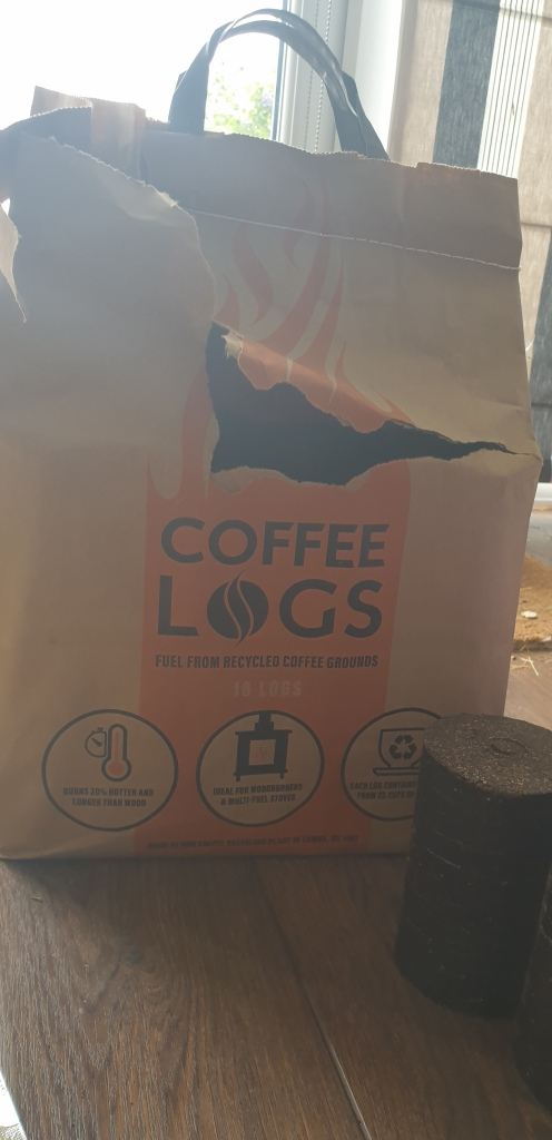 Coffee logs fuel for wood burner