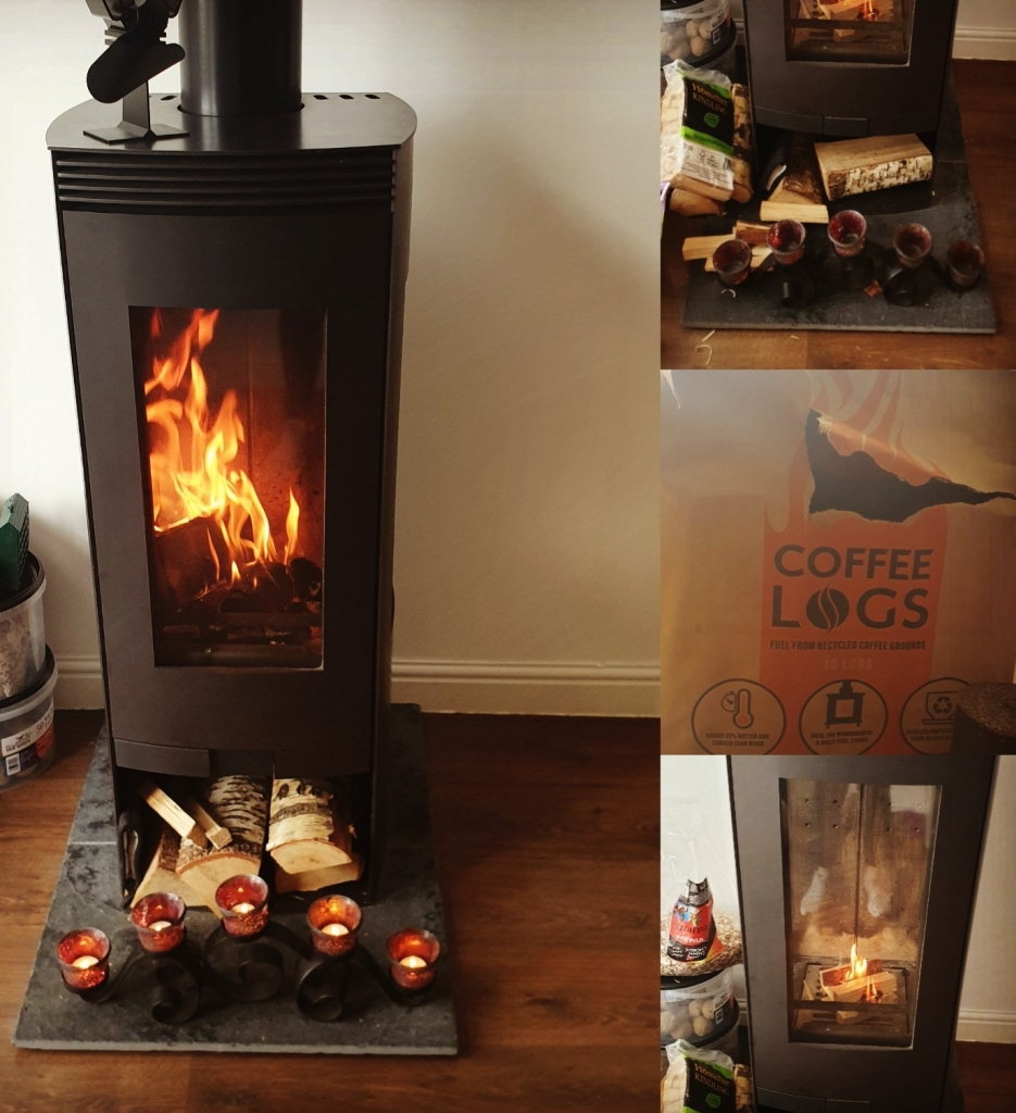 woodburner lit with coffee logs as fuel