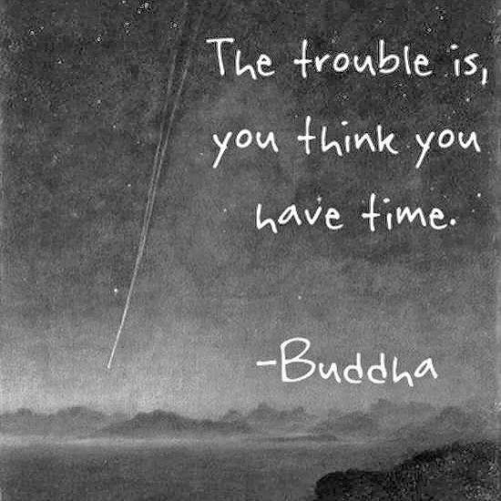 The trouble is, you think you have time quote Buddha