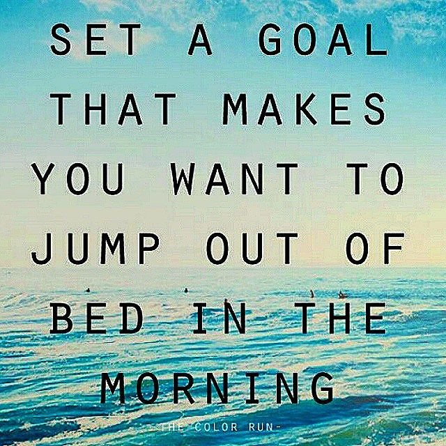 Set a goal quote on ocean and sky background blue yellow